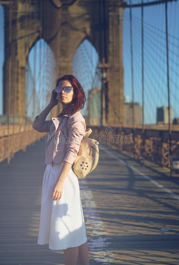 Traveling young woman stock image