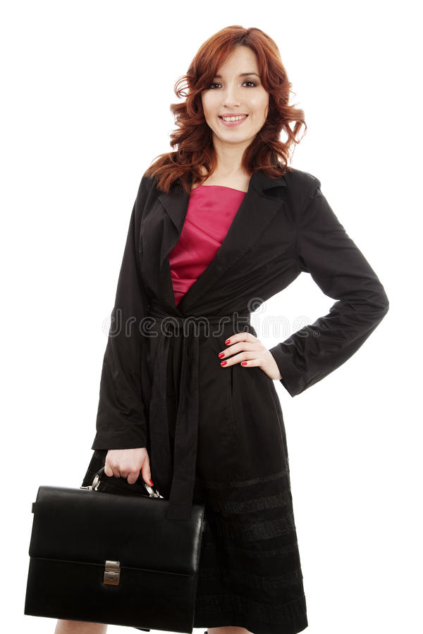 Young woman with briefcase stock photo