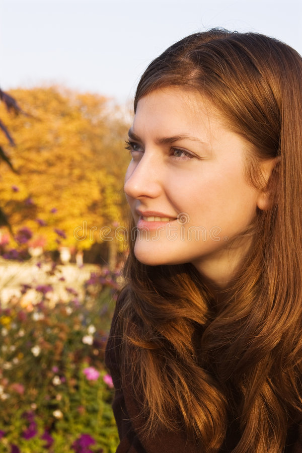 Young woman in a bright autumn park stock photos