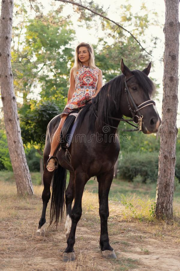 Young woman in a bright colorful dress riding a black horse. In the park royalty free stock image