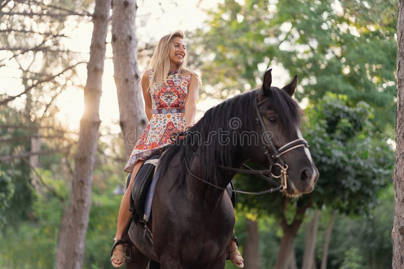 Young woman in a bright colorful dress riding a black horse. In the park stock image