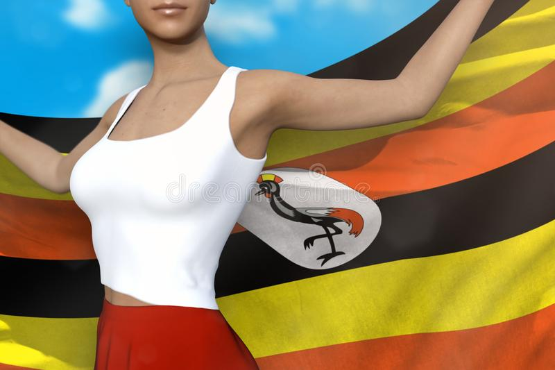 Beautiful lady in bright skirt holds Uganda flag in hands behind her back on the cloudy sky background - flag concept 3d. Young woman in bright skirt is holding vector illustration