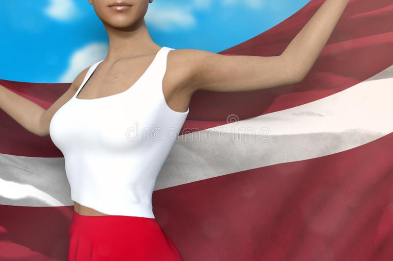 Young woman in bright skirt holds Latvia flag in hands behind her back on the cloudy sky background - flag concept 3d illustration. Beautiful girl in bright stock illustration