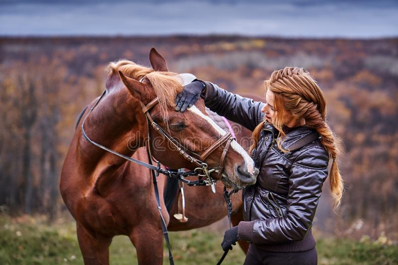 A young woman with brown hair gently communicates with her beloved horse. stock image