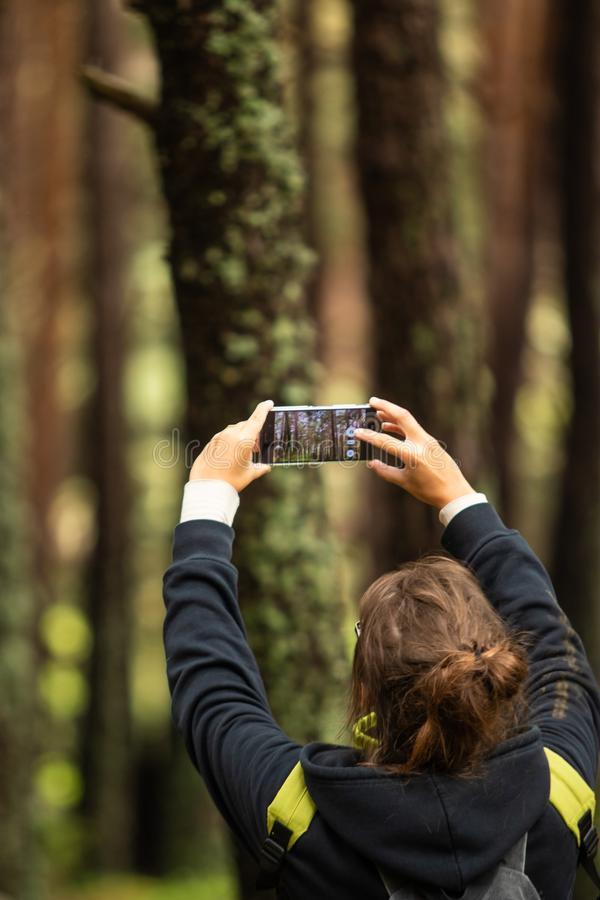 A young woman with brown hair taking picture of trees in the for. Est with her smartphone, durking a hike in the forest. medium shot stock photos
