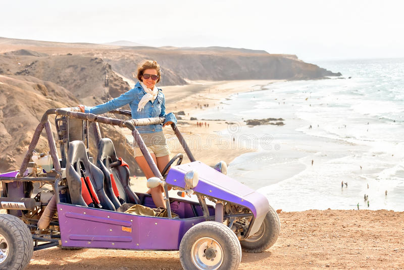 Young woman on buggy stock images