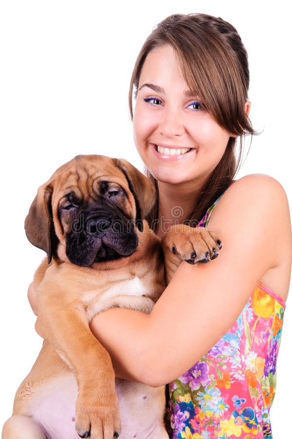 Download Young Woman With Bullmastiff Stock Photo - Image: 26349148