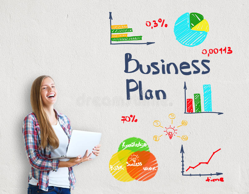 Young woman with business plan stock photography