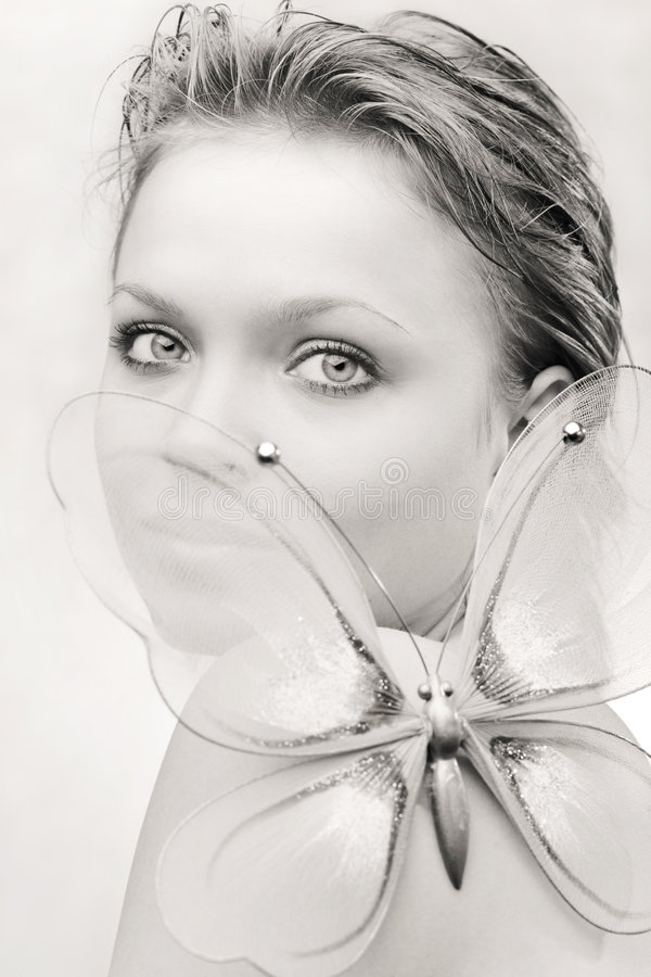 Download Young Woman With A Butterfly Stock Photo - Image: 8544798