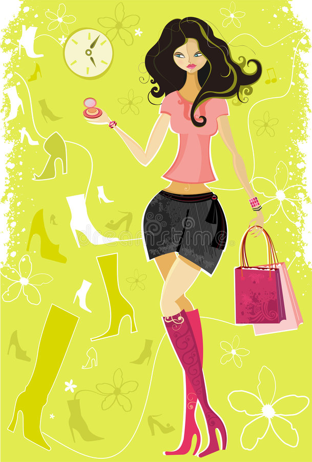 Young woman buying shoes. To see similar, please visit my gallery royalty free illustration
