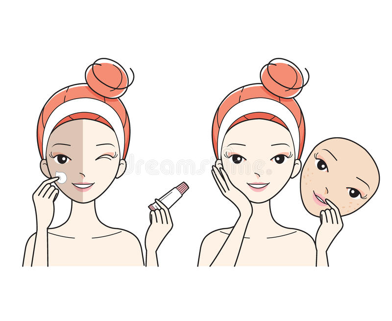 Young Woman Care Face, Bad To Good Color Face Skin stock image