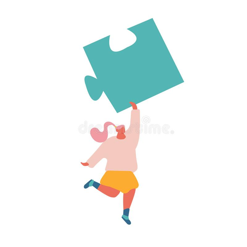 Young Woman Carry Huge Puzzle Piece in Raised Hand Isolated on White Background. Teamwork Cooperation, Solution stock illustration