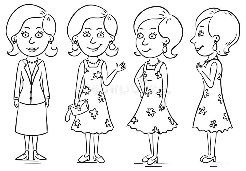 Young woman. Cartoon character in different poses vector illustration