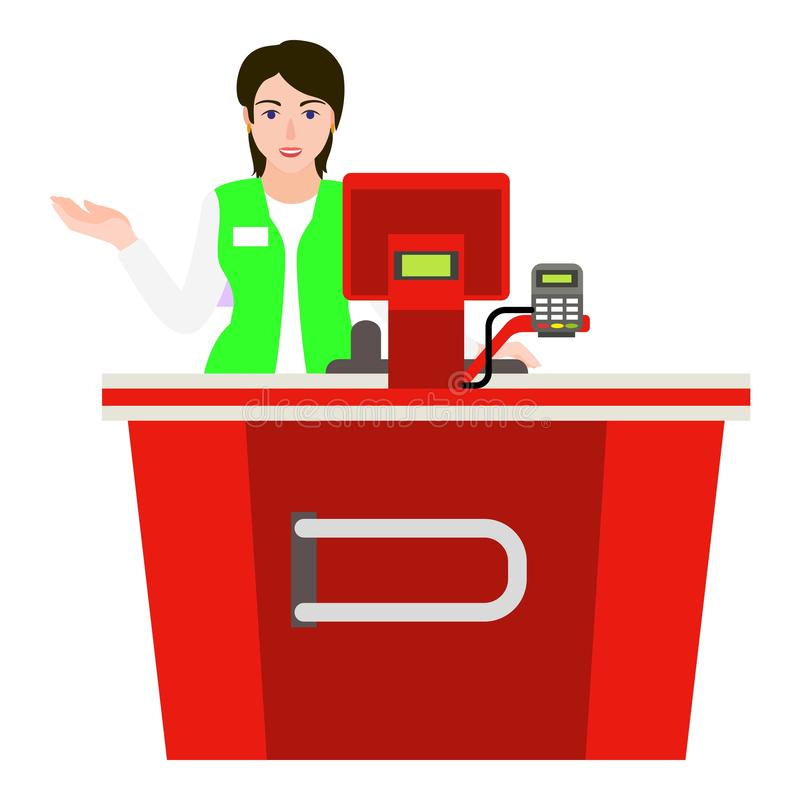 Young woman cashier icon, flat style royalty free illustration