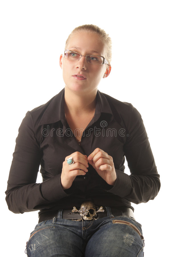 Young woman in casual stock photography