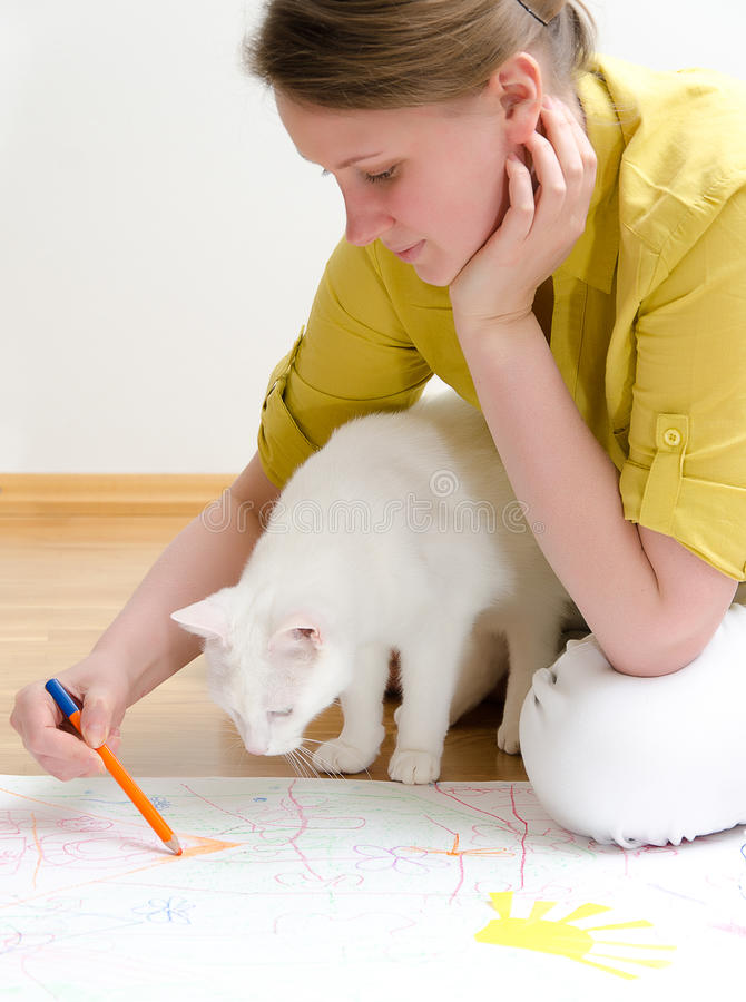 Download Young woman and cat stock photo. Image of white, floor - 28745774