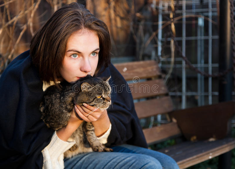 Young woman with a cat. Young woman with a gray striped cat royalty free stock photos