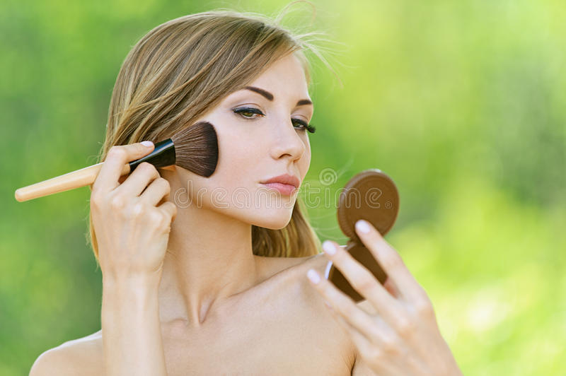 Download Young Woman Causes Powder To Face Stock Image - Image of female, up: 26037011