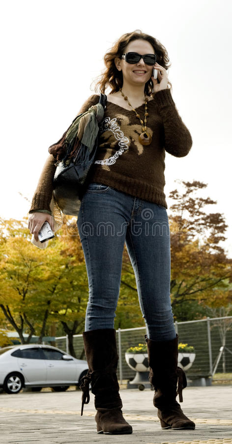 Young woman with cell phone . stock photos