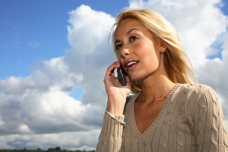Download Young woman on cellphone stock image. Image of chat, talk - 3351295