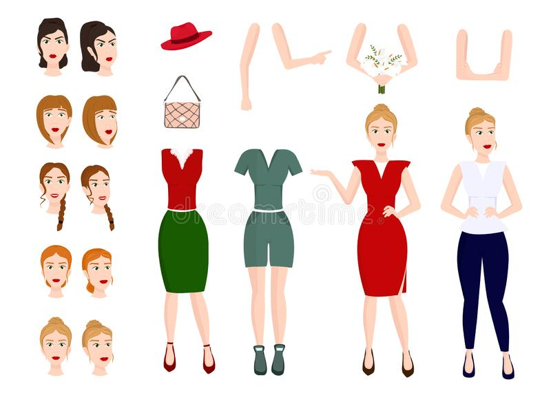 Young woman character constructor. royalty free illustration