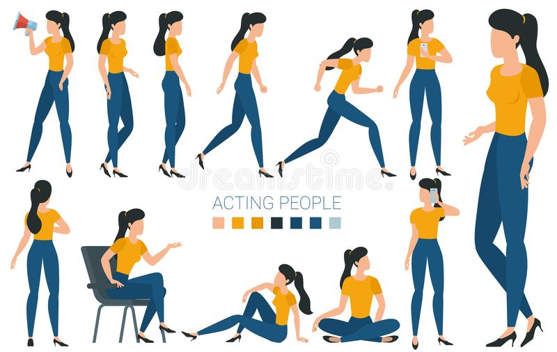 Young woman character gestures and poses royalty free illustration