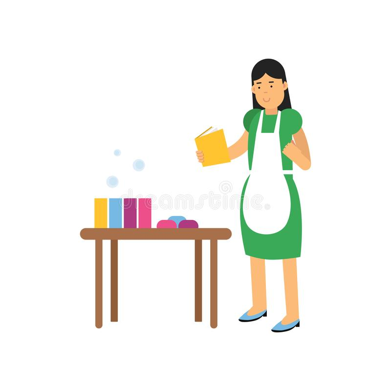 Young woman character in green dress and white apron making homemade soap. Craft hobby or creative profession concept royalty free illustration