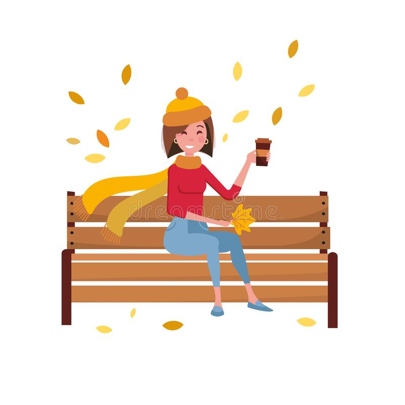 Young Woman character sitting alone on bench in autumn park. Breaktime of brunette female in warm clothes drinking cup of coffee stock illustration