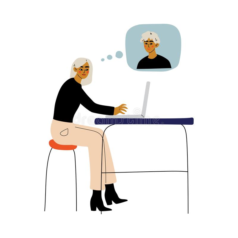 Young Woman Chatting Via Internet with Young Man, Online Dating, Best Friends, Social Networking, Vector Illustration stock illustration