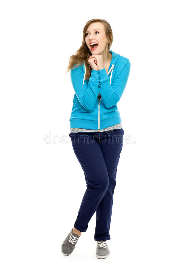 Young woman cheering royalty free stock photos