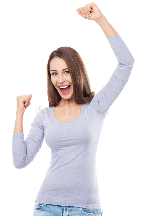 Young woman cheering stock images