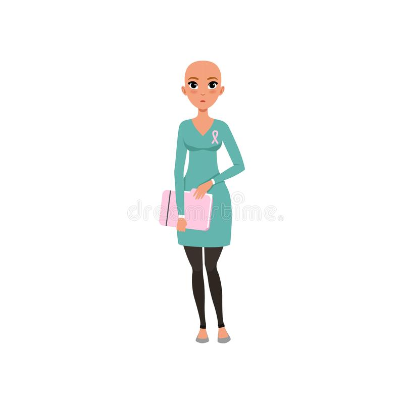 Young woman after chemotherapy, bald woman with cancer, oncology therapy, treatment vector Illustration on a white. Young woman after chemotherapy, bald woman royalty free illustration