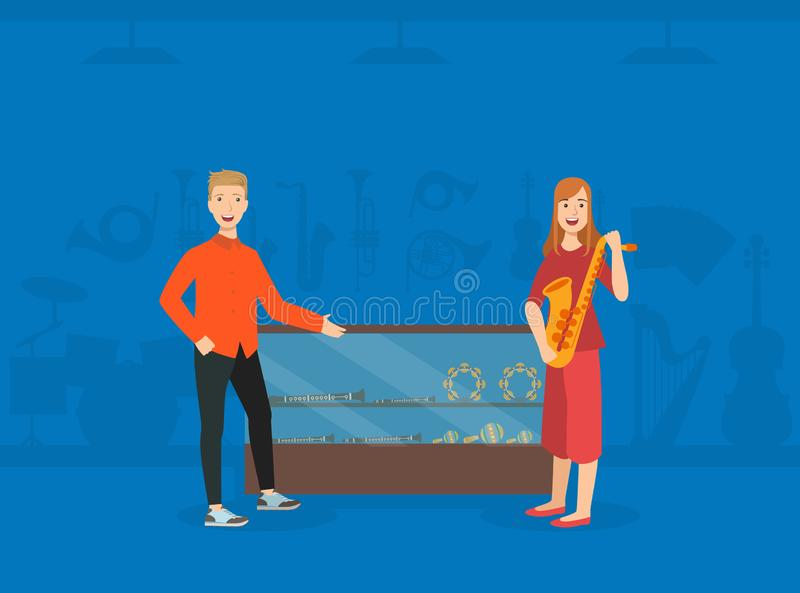 Young Woman Choosing and Buying Saxophone in Music Store, Male Shop Assistant Selling Musical Instruments Vector stock illustration