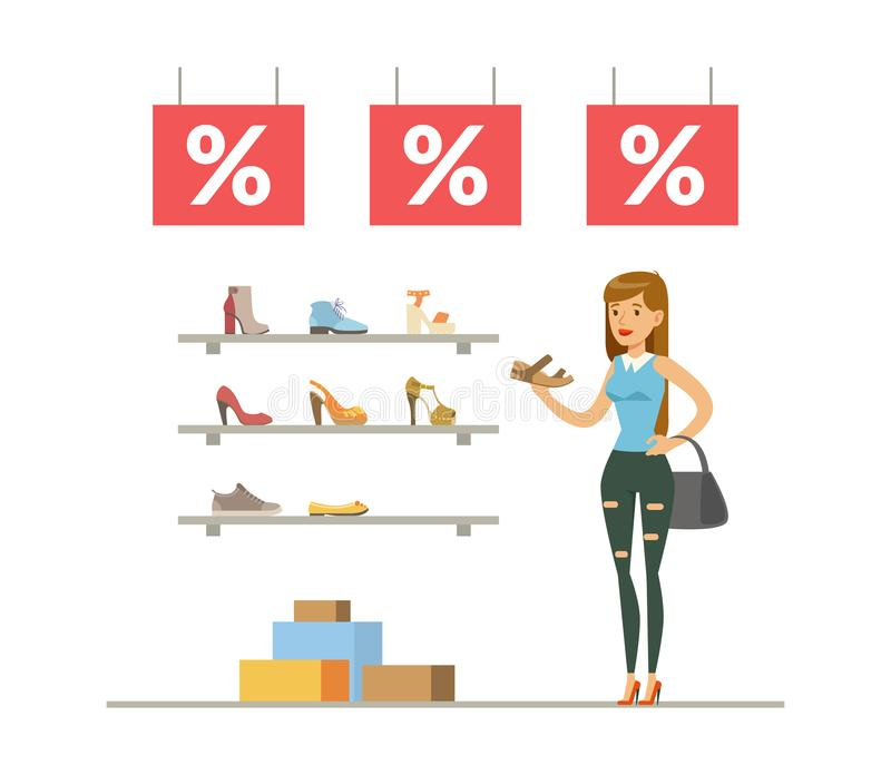 Young Woman Choosing and Buying Shoes, Girl Shopping in Mall, Shoes Store Interior Vector Illustration stock illustration