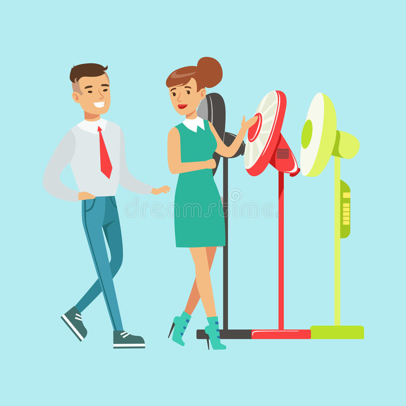 Young woman choosing electric fun with shop assistant help. Appliance store colorful vector Illustration vector illustration