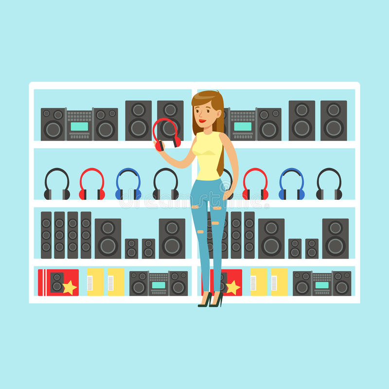 Young woman choosing headphones at tech store colorful vector Illustration stock illustration