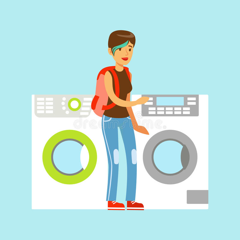 Young woman choosing new clothes washer. Appliance store colorful vector Illustration royalty free illustration