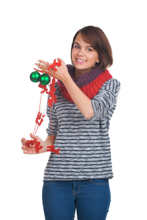 Download Young Woman With Christmas Ball Stock Photo - Image: 35161088