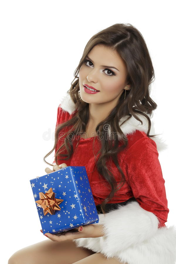 Young woman with Christmas gift box royalty free stock photo