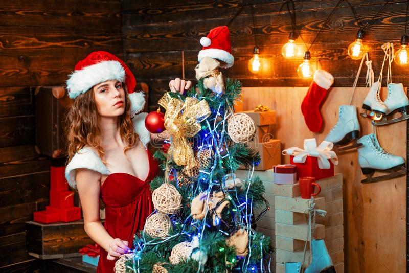 Young woman with christmas present boxes in front of christmas tree. Happy emotion. Euphoria. Crazy comical face royalty free stock image