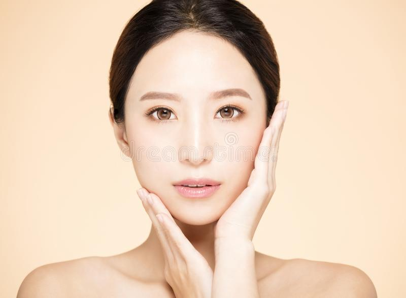Young woman with clean fresh skin stock photo
