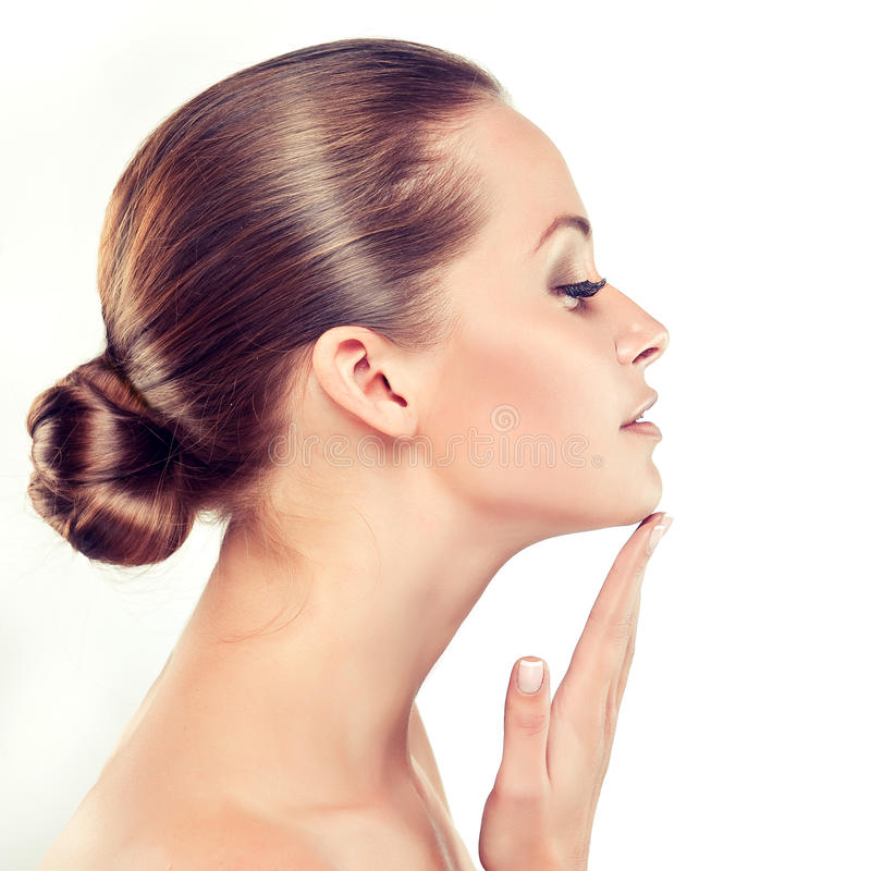 Young Woman with Clean Fresh Skin. Cosmetology. stock photos