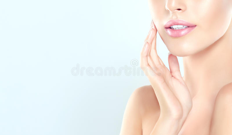 Young Woman with clean, fresh, skin. stock photos