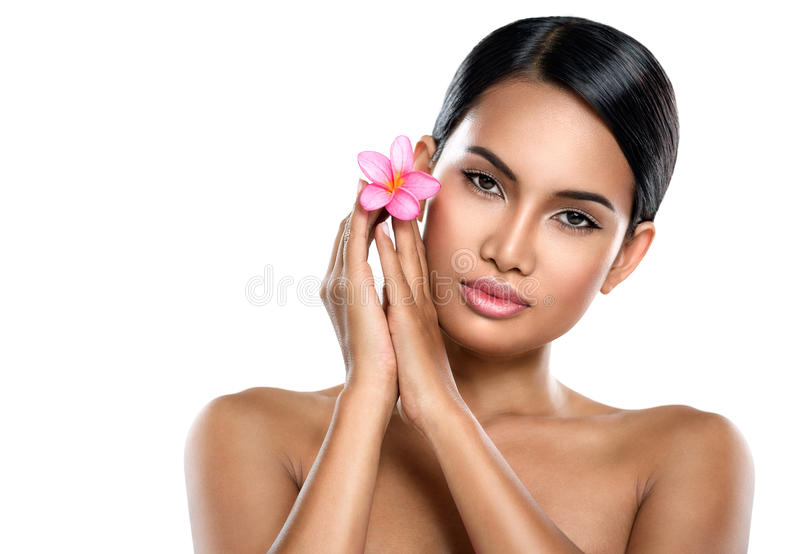 Young woman with clean skin. Beautiful young woman with clean skin, pretty female posing on white background stock images