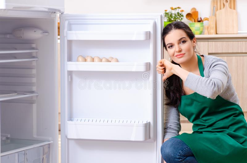 The young woman cleaning fridge in hygiene concept. Young woman cleaning fridge in hygiene concept royalty free stock photos