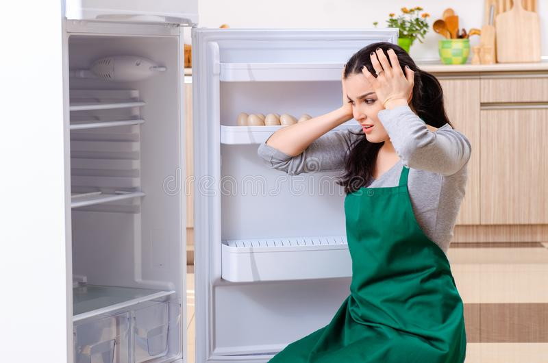 The young woman cleaning fridge in hygiene concept. Young woman cleaning fridge in hygiene concept royalty free stock photo
