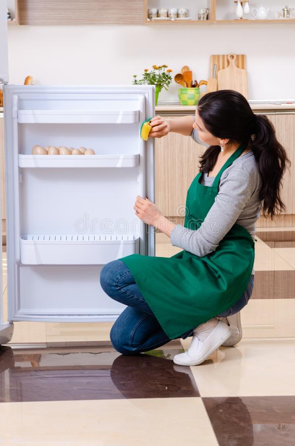 The young woman cleaning fridge in hygiene concept. Young woman cleaning fridge in hygiene concept stock photos