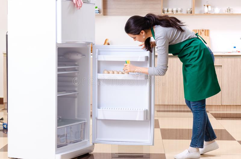 The young woman cleaning fridge in hygiene concept. Young woman cleaning fridge in hygiene concept royalty free stock images