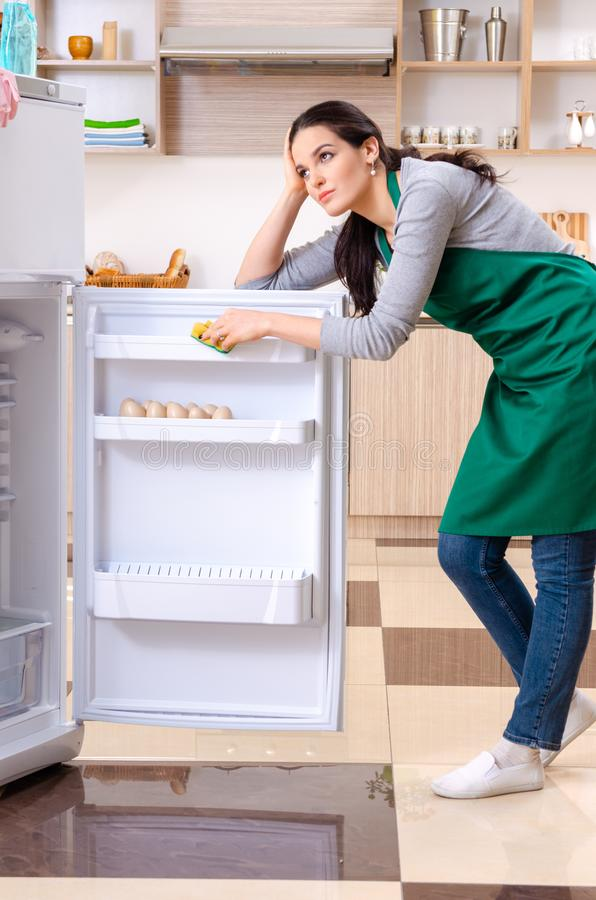 Young woman cleaning fridge in hygiene concept. The young woman cleaning fridge in hygiene concept stock images