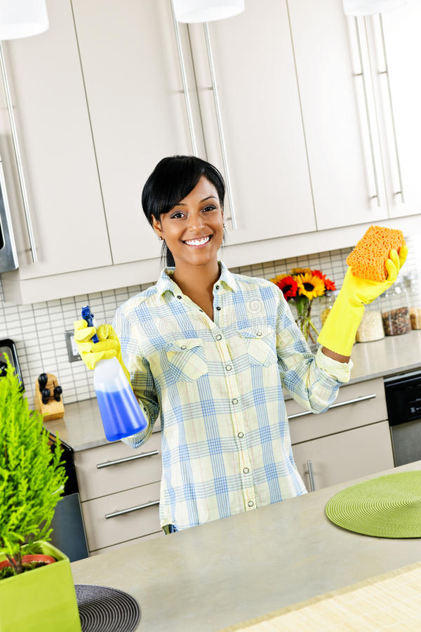 Download Young Woman Cleaning Kitchen Stock Photo - Image of kitchen, gloves: 17802462